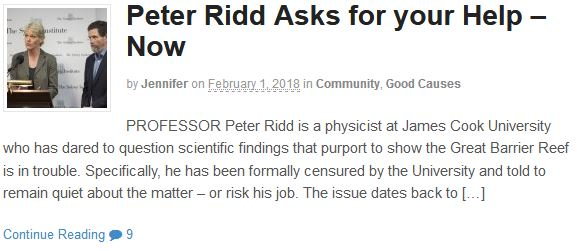 Peter Ridd Asks for your Help – Now
